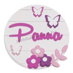 Névtábla falidekoráció - Pillangó virágokkal - fehér-pink-lila