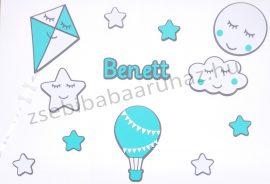 Falidekoráció -12 db-os felhőcskés, csillagos, hőlégballonos szett névvel - szürke-menta-fehér