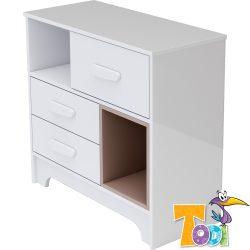 Bianco 3 fiókos komód - bordázott fehér polcbetéttel