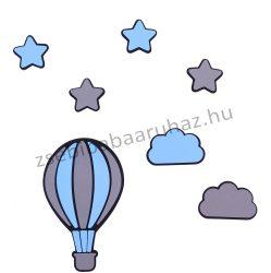 Habszivacs falidekoráció - Csillagok hőlégballonnal szett 7 db-os - fekete-szürke-világoskék