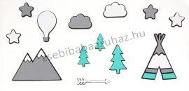Habszivacs falidekoráció - Indiánsátor hőlégballonnal, csillagokkal szett 13 db-os - fekete-szürke-menta-fehér