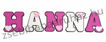 Dekorbetű 15 cm - Pillangós-szívecskés dekor, pink-fehér - 1400 Ft/betű