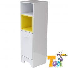 Bianco keskeny nyitott polcos + 1 ajtós szekrény - bordázott fehér polcbetéttel