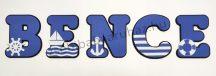 Dekorbetű 15 cm - Tengerész dekor (sötétkék) - 1400 Ft/betű