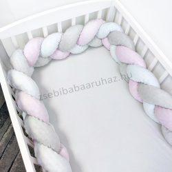 Fonott rácsvédő 70*120-as kiságyban körbeérő - Minky tricolor (szürke - világos rózsaszín - fehér)