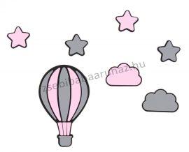 Habszivacs falidekoráció - Csillagok hőlégballonnal szett 7 db-os - fekete-szürke-rózsaszín