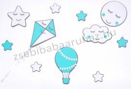 Habszivacs falidekoráció -Felhőcskés-csillagos-hőlégballonos szett 11 db-os - szürke-menta-fehér