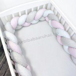 Fonott rácsvédő 60*120-as kiságy feléig érő - Minky tricolor (szürke - világos rózsaszín - fehér)